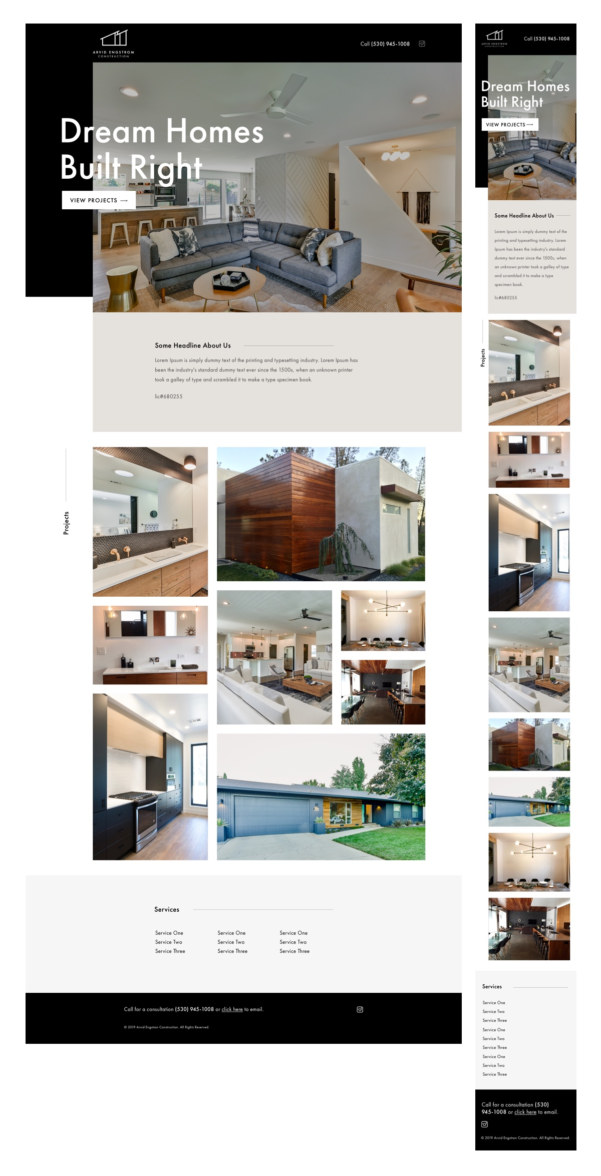 Arvid Engstrom Construction Desktop and Mobile